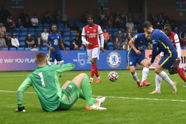 Jayden Wareham of Chelsea scores during the Chelsea v Arsenal Premier League 2 match on September 19, 2021 in London, England.