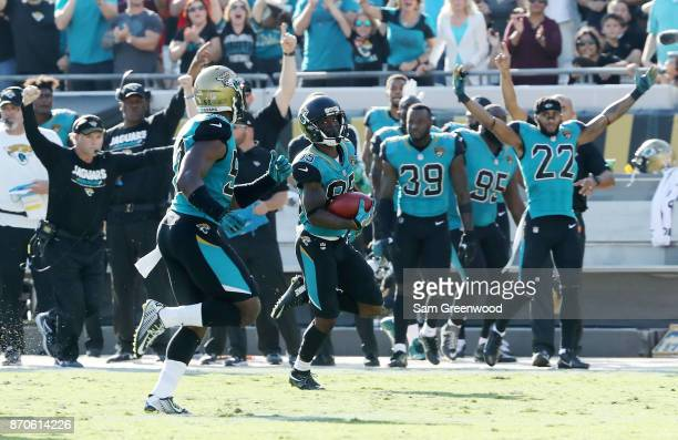 Jaydon Mickens of the Jacksonville Jaguars scores a touchdown on a 63yard punt return in the second half of their game against the Cincinnati Bengals...