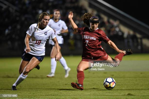 Jaye Boissiere of Stanford University has a shot on goal defended by Emily Knous of University of Arizona at Laird Q Cagan Stadium on September 21...