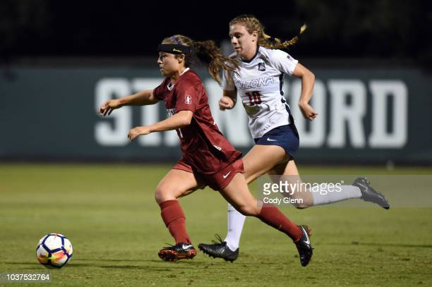 Jaye Boissiere of Stanford University in action against Emily Knous of University of Arizona at Laird Q Cagan Stadium on September 21 2018 in...