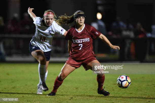 Jaye Boissiere of Stanford University in action against Hannah Clifford of University of Arizona at Laird Q Cagan Stadium on September 21 2018 in...