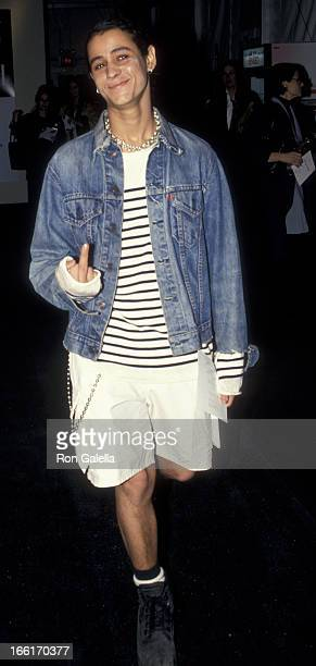 Jaye Davidson attends Fall Fashion Week Tanya Sarne Fashion Show on April 8 1994 at Bryant Park in New York City
