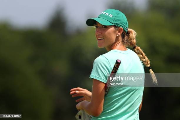 Jaye Marie Green of Boca Raton Florida greets the gallery as she walks onto the 18th green during the final round of the Marathon LPGA Classic golf...