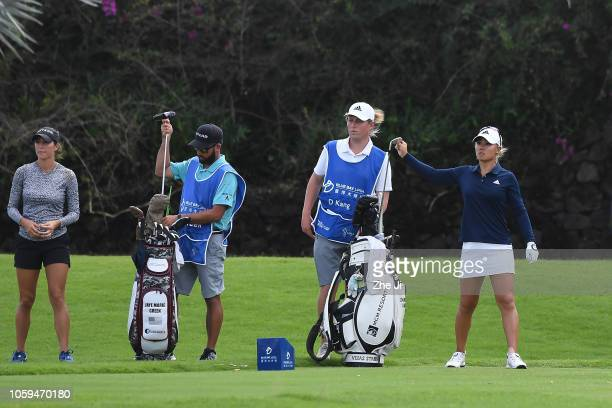 Jaye Marie Green of the United States and Danielle Kang of United States play a shot on the 11th hole during the third round of the Blue Bay LPGA on...