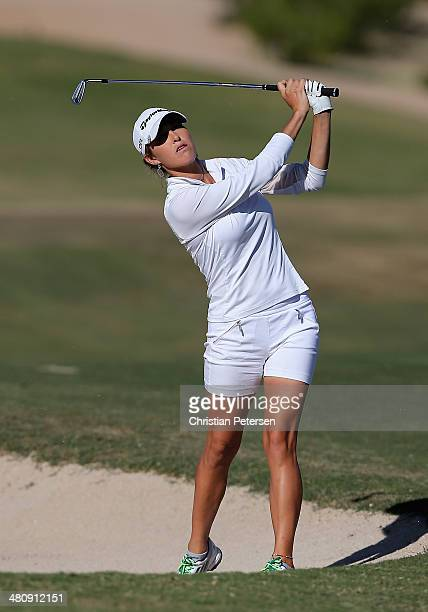 Jaye Marie Green plays a shot from the bunker during the third round of the JTBC LPGA Founders Cup at Wildfire Golf Club on March 22 2014 in Phoenix...