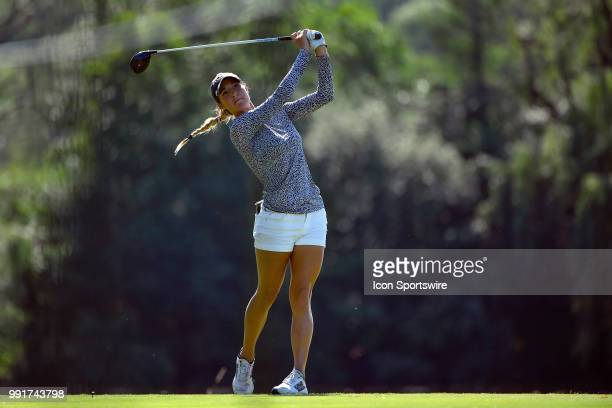 Jaye Marie Green plays her tee shot on the seventh hole during the second round of the KPMG Women's PGA Championship on June 29 2018 at the Kemper...