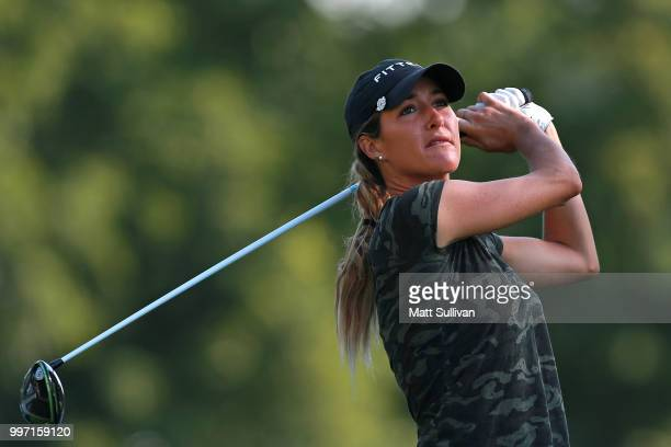 Jaye Marie Green watches her tee shot on the fifth hole during the first round of the Marathon Classic Presented By Owens Corning And OI on July 12...