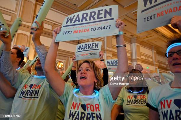 Jaye Palazzo of Nevada a supporter of Democratic presidential candidate US Sen Elizabeth Warren cheers during the Nevada Democrats' First in the West...
