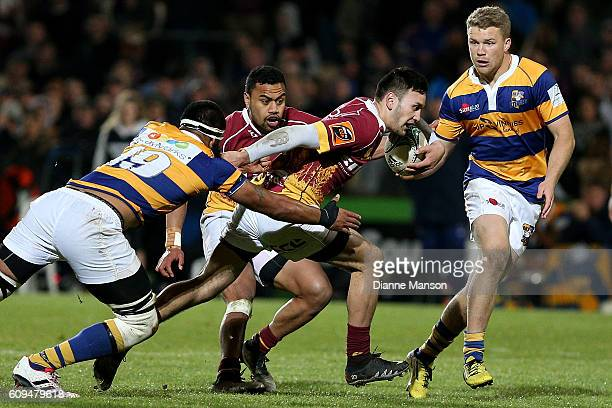Jaye Thompson of Southland tries to break the tackle of Shahn Eru of Bay of Plenty during the Mitre 10 Cup round 6 match between Southland and Bay of...
