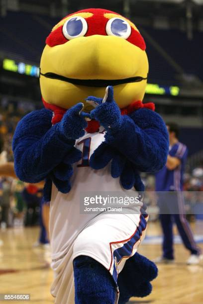 Jayhawk the mascot of the Kansas Jayhawks performs against the North Dakota State Bison during the first round of the NCAA Division I Men's...