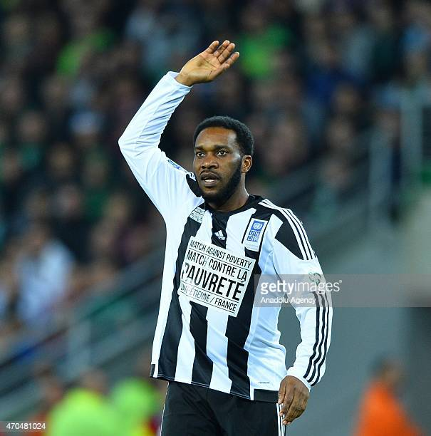 Jay-Jay Okocha in action during the Match Against Poverty at Stade Geoffroy-Guichard on April 20, 2015 in Saint-Etienne, France. The 12th annual...