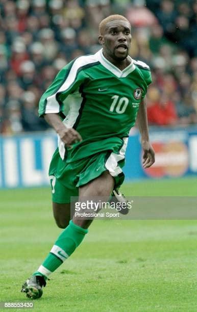 Jay-Jay Okocha of Nigeria in action during a 1998 FIFA World Cup group match between Spain and Nigeria at the Stade de la Beaujoire on June 13, 1998...