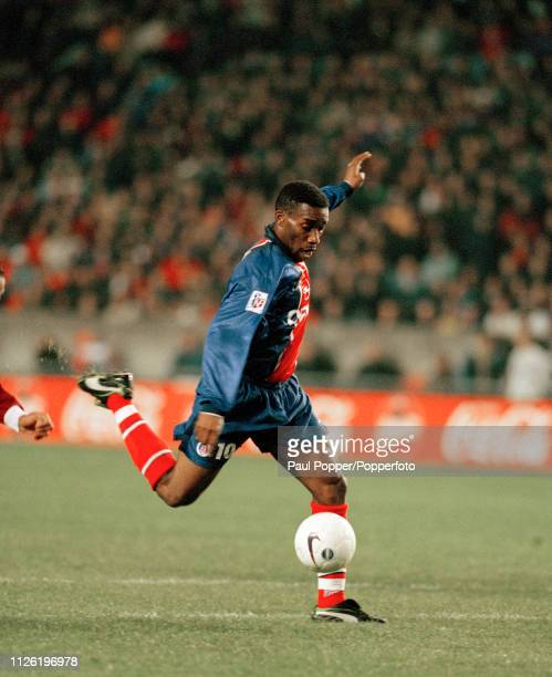 JayJay Okocha of Paris SaintGermain in action during the Ligue 1 match between Paris SaintGermain and Metz at the Parc des Princes on November 10...