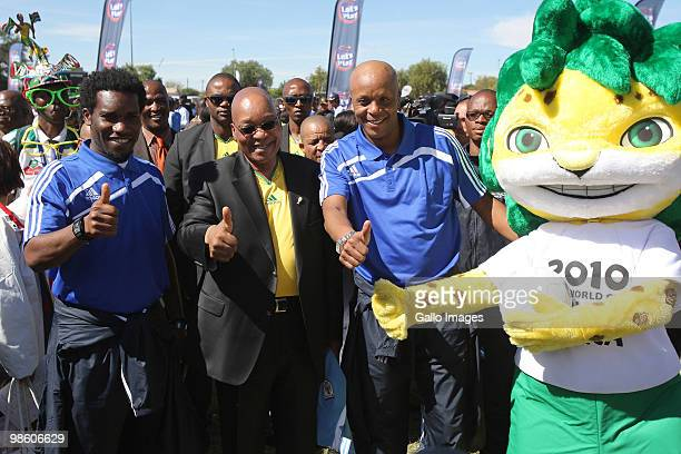 JayJay Okocha South African President Jacob Zuma and Doctor Khumalo take part in celebrations marking the 50 Day Countdown to the start of the FIFA...