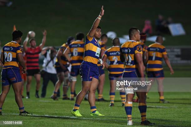 Jayjay Suemai of the Bay of Plenty signals to the bench during the Jock Hobbs U19 Rugby Tournament on September 15 2018 in Taupo New Zealand