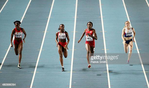 Jayla Kirkland of the USA Khalifa St Fort of Trinidad And Tobago Candace Hill of the USA and Hannah Brier of Great Britain in action during the Girls...