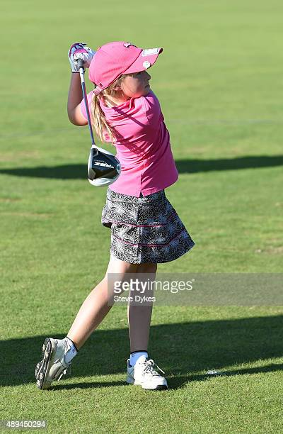 Jayla Kucy hits her drive during the Drive competition in the Girls 1011 yr old division during the Drive Chip and Putt regional qualifying at...