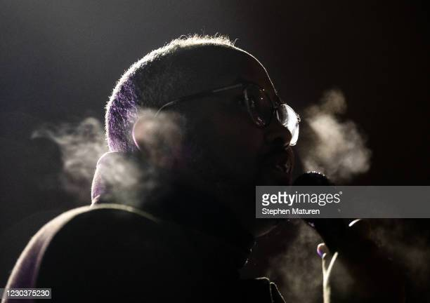 Jaylani Hussein, the executive director of the Minnesota chapter of the Council on American-Islamic Relations, speaks during a vigil for Dolal Idd,...