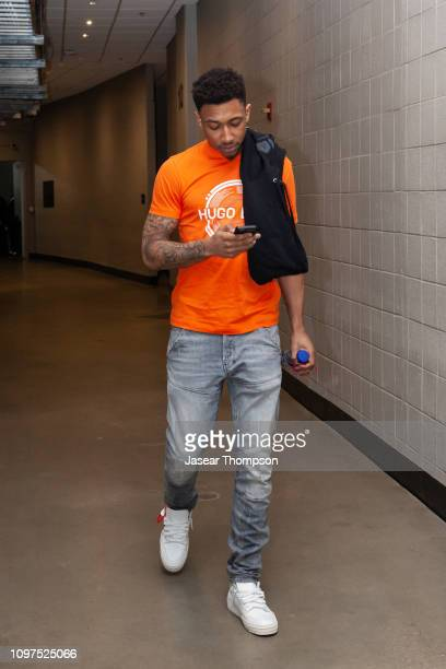 Jaylen Adams of the Atlanta Hawks arrives for the game against the Orlando Magic on February 10 2019 at State Farm Arena in Atlanta Georgia NOTE TO...