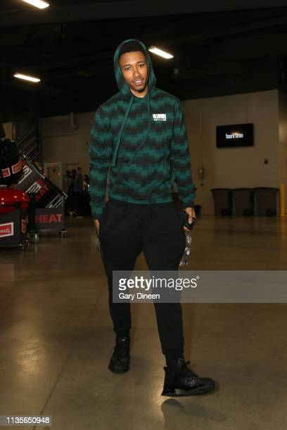 Jaylen Adams of the Atlanta Hawks arrives for the game against the Milwaukee Bucks on April 7 2019 at the Fiserv Forum Center in Milwaukee Wisconsin...