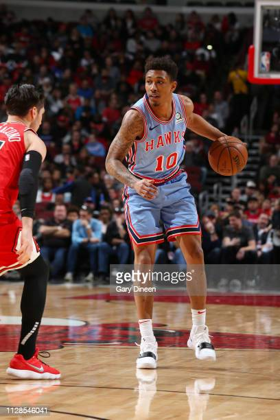 Jaylen Adams of the Atlanta Hawks dribbles the ball during the game against the Chicago Bulls on March 3 2019 at the United Center in Chicago...