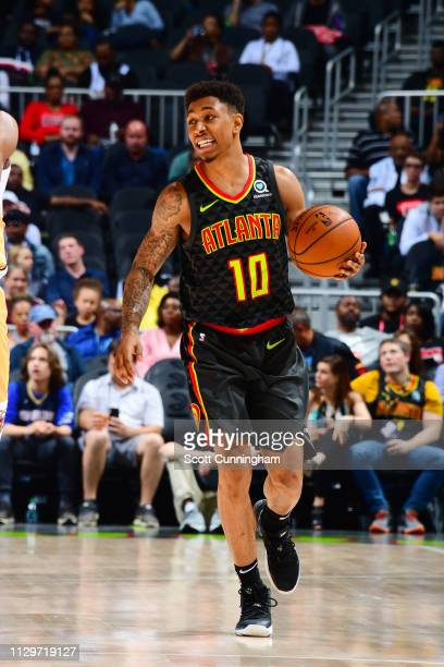 Jaylen Adams of the Atlanta Hawks dribbles the ball during the game against the New Orleans Pelicans on March 10 2019 at State Farm Arena in Atlanta...