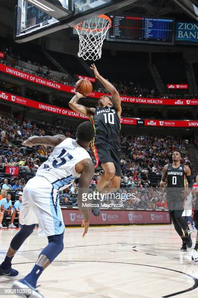 Jaylen Adams of the Atlanta Hawks goes to the basket against the Memphis Grizzlies during the 2018 Utah Summer League on July 2 2018 at...
