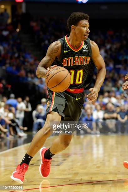 Jaylen Adams of the Atlanta Hawks handles the ball against Oklahoma City Thunder during a preseason game on October 7 2018 at BOK Center in Tulsa...