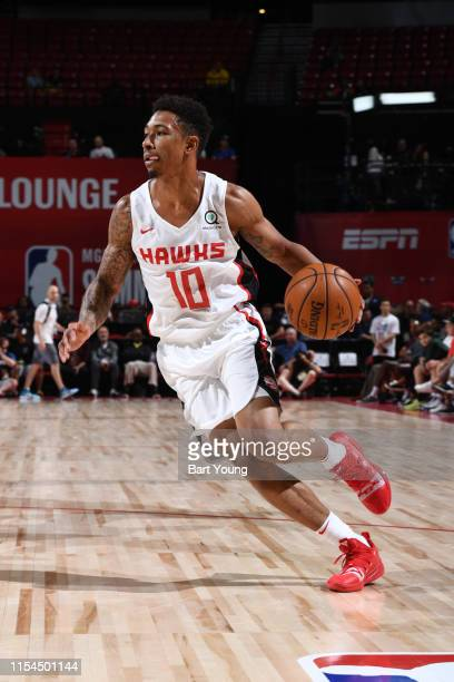 Jaylen Adams of the Atlanta Hawks handles the ball against the Minnesota Timberwolves during Day 3 of the 2019 Las Vegas Summer League on July 7 2019...