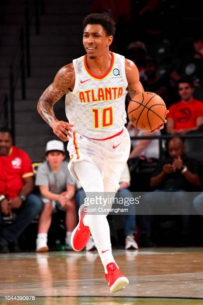 Jaylen Adams of the Atlanta Hawks handles the ball against the New Orleans Pelicans during a preseason game on October 1 2018 at McCamish Pavilion in...