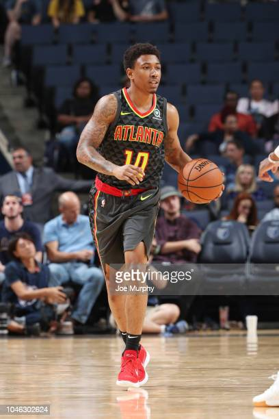 Jaylen Adams of the Atlanta Hawks handles the ball against the Memphis Grizzlies on October 5 2018 at FedExForum in Memphis Tennessee NOTE TO USER...