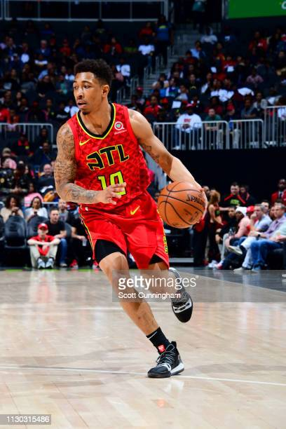 Jaylen Adams of the Atlanta Hawks handles the ball against the Memphis Grizzlies on March 13 2019 at State Farm Arena in Atlanta Georgia NOTE TO USER...