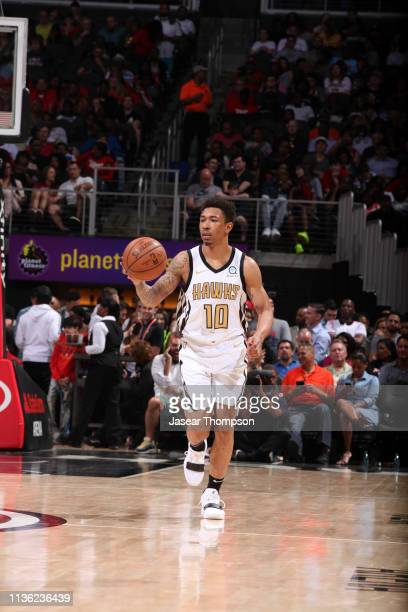 Jaylen Adams of the Atlanta Hawks handles the ball against the Indiana Pacers on April 10 2019 at State Farm Arena in Atlanta Georgia NOTE TO USER...