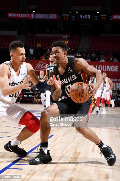 Jaylen Adams of the Atlanta Hawks handles the ball against the Washington Wizards on July 11 2019 at the Thomas Mack Center in Las Vegas Nevada NOTE...
