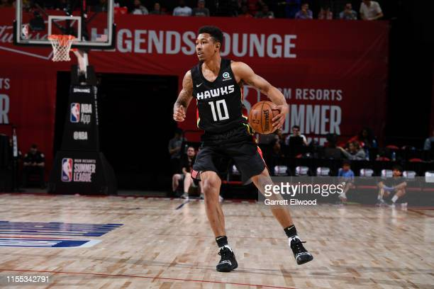 Jaylen Adams of the Atlanta Hawks handles the ball against the San Antonio Spurs on July 12 2019 at the Thomas Mack Center in Las Vegas Nevada NOTE...