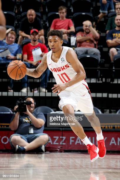 Jaylen Adams of the Atlanta Hawks handles the ball against the San Antonio Spurs during the 2018 Utah Summer League on July 3 2018 at Vivint Smart...