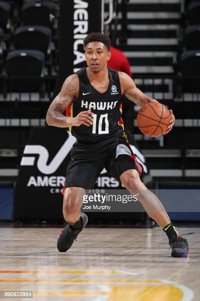 Jaylen Adams of the Atlanta Hawks handles the ball against the Memphis Grizzlies during the 2018 Utah Summer League on July 2 2018 at the Vivint...