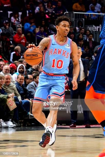 Jaylen Adams of the Atlanta Hawks handles the ball during the game against the Oklahoma City Thunder on January 15 2019 at State Farm Arena in...