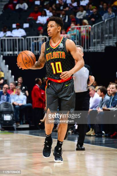 Jaylen Adams of the Atlanta Hawks handles the ball during the game against the New Orleans Pelicans on March 10 2019 at State Farm Arena in Atlanta...