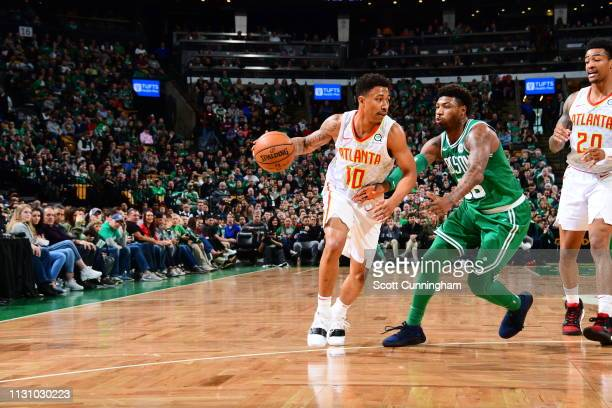 Jaylen Adams of the Atlanta Hawks handles the ball during the game against the Boston Celtics on March 16 2019 at the TD Garden in Boston...