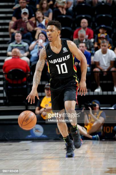 Jaylen Adams of the Atlanta Hawks handles the ball during the game against the Memphis Grizzlies during the 2018 Utah Summer League on July 2 2018 at...