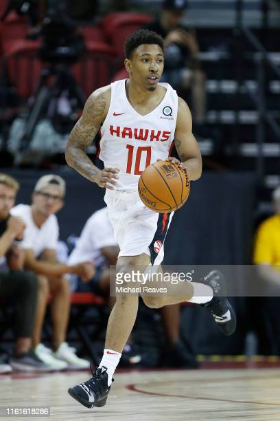 Jaylen Adams of the Atlanta Hawks in action against the Indiana Pacers during the 2019 Summer League at the Thomas Mack Center on July 09 2019 in Las...