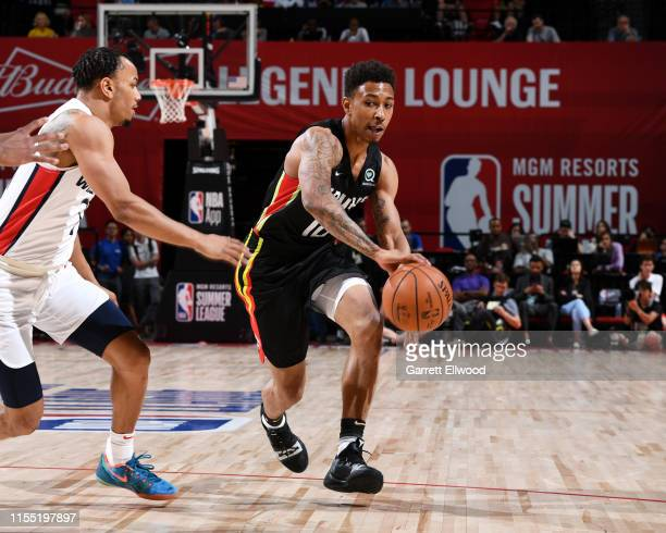 Jaylen Adams of the Atlanta Hawks passes the ball against the Washington Wizards on July 11 2019 at the Thomas Mack Center in Las Vegas Nevada NOTE...