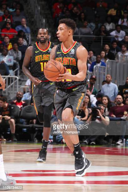 Jaylen Adams of the Atlanta Hawks passes the ball during the game against the New Orleans Pelicans on March 10 2019 at State Farm Arena in Atlanta...