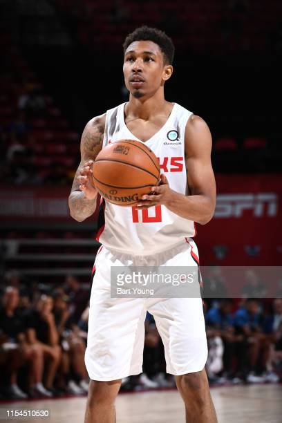 Jaylen Adams of the Atlanta Hawks shoots fee throws against the Minnesota Timberwolves during Day 3 of the 2019 Las Vegas Summer League on July 7...
