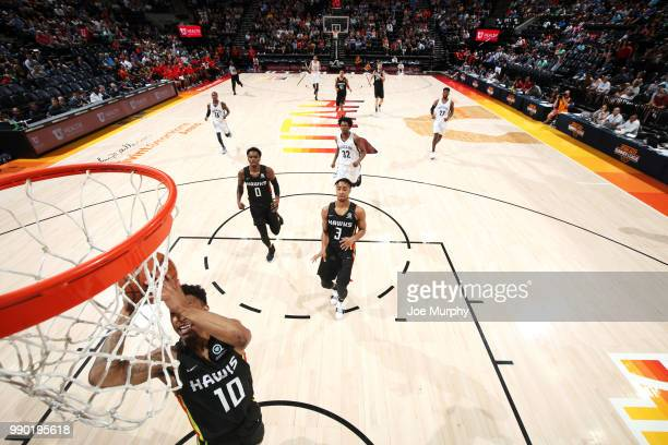 Jaylen Adams of the Atlanta Hawks shoots the ball against the Memphis Grizzlies during the 2018 Summer League at the Vivint Smart Home Arena on July...