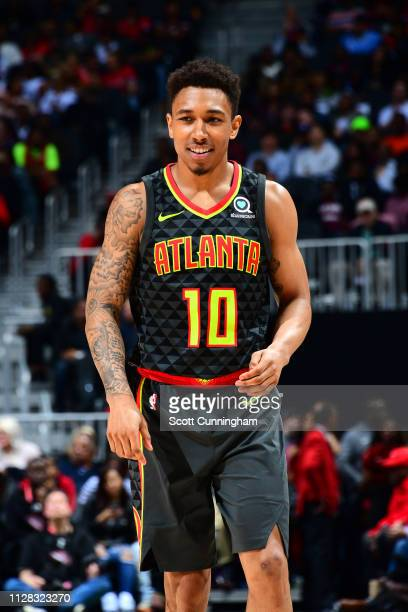 Jaylen Adams of the Atlanta Hawks smiles during the game against the Chicago Bulls on March 1 2019 at State Farm Arena in Atlanta Georgia NOTE TO...