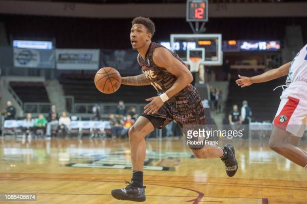 Jaylen Adams of the Erie BayHawks drives toward the basket during an NBA GLeague game on January 19 2019 at Erie Insurance Arena in Erie PA NOTE TO...