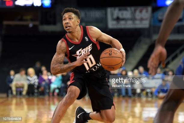 Jaylen Adams of the Erie BayHawks handles the ball against the Lakeland Magic during the NBA G League on December 28 2018 at the Erie Insurance Arena...