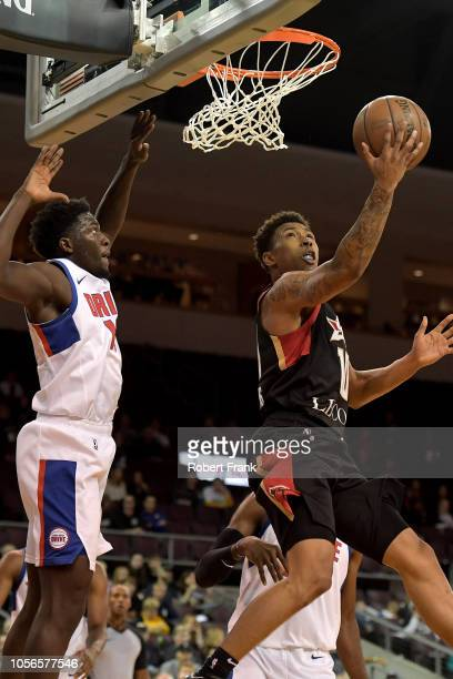 Jaylen Adams of the Erie BayHawks shoots against Khyri Thomas of the Grand Rapids Drive during an NBA GLeague game on November 2 2018 at Erie...